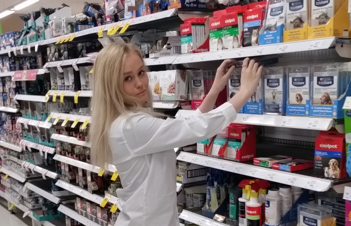 BRACE student 'Jamie Penn' during her work placement at 'Coles'.